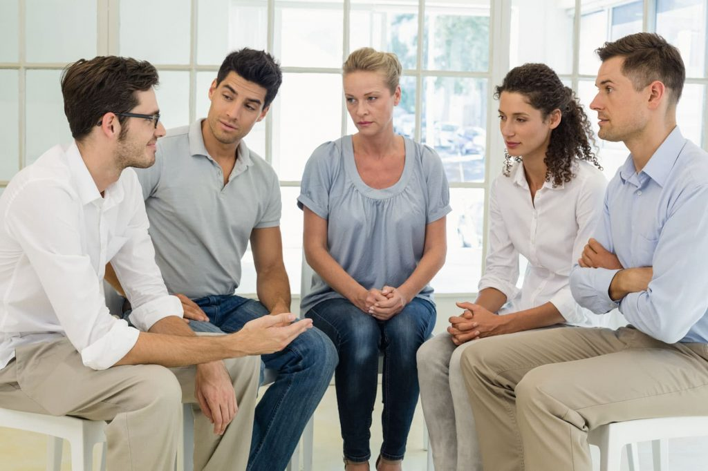 Group of people in Rehab clinic
